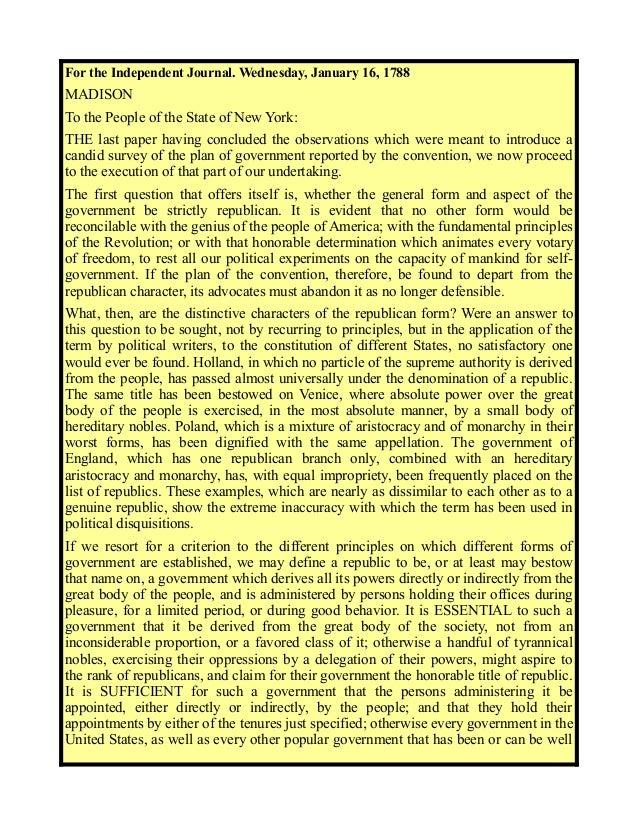 Federalist paper no 39