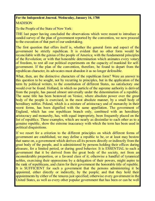 federalist paper no 16 Alexander hamilton, federalist no 17 political  about posted by: george | july  16, 2017  for background and texts relating to the federalist papers.