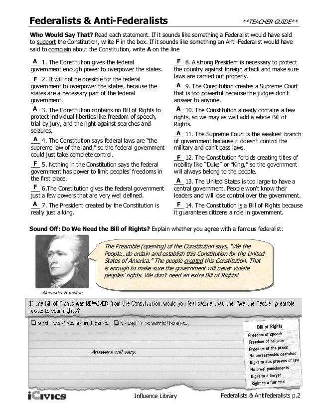 Federalists & anti federalists mini lesson