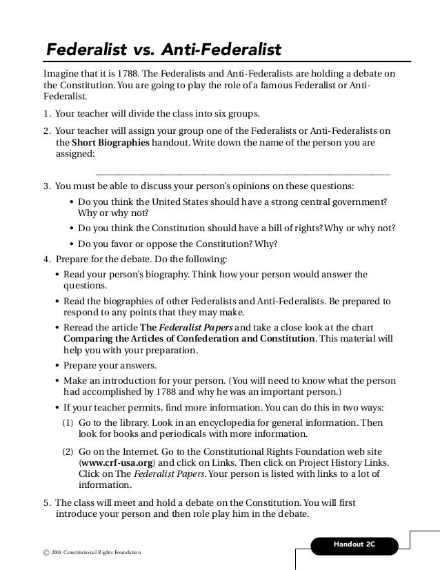 federalists papers 16 handout 2c federalist