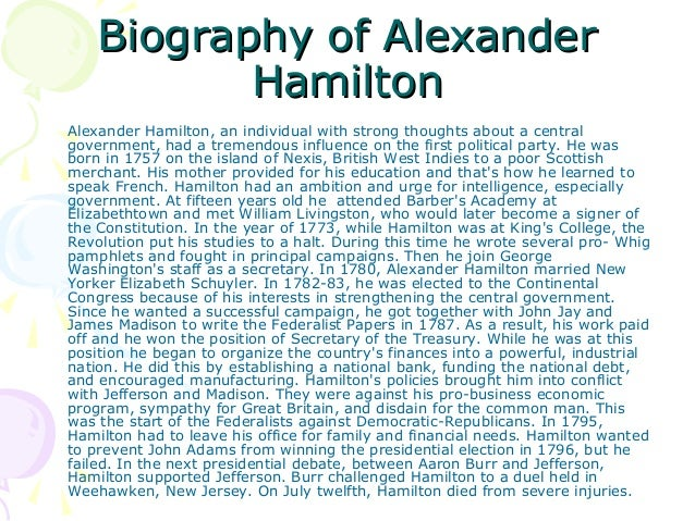 essay on alexander hamilton and thomas jefferson The first secretary of the treasury, alexander hamilton's views on the economy were superior to those off thomas jefferson hamilton saw the use as becoming more industrial and commercial while jefferson preferred a stronger focus on agriculture.