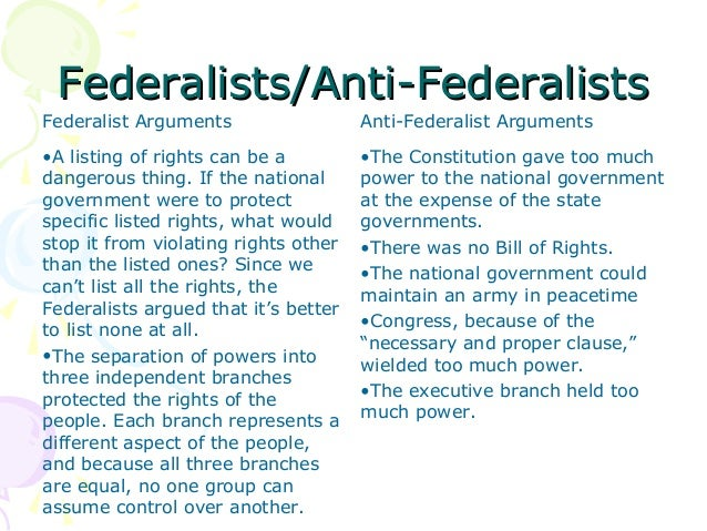 anti federalists vs federalists essays Compare and contrast federalists and anti  what was federalist vs anti-federalists  responded by writing contradictory essays rebutting each point.