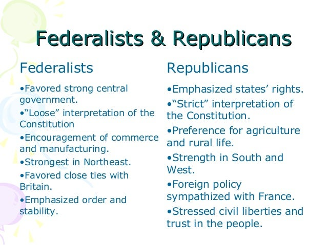 characteristics jeffersonian republicans and federalists Jeffersonian republican party jeffersonian (or madisonian)  as the federalists collapsed and the country entered on a period of single-party rule,.