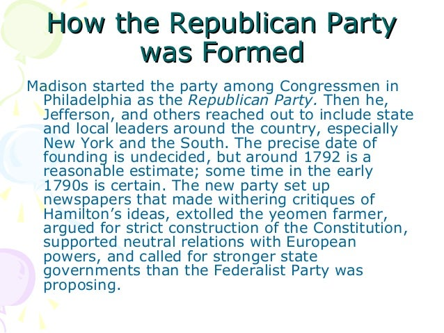 an analysis of formation of the republican party In ripon, wisconsin, former members of the whig party meet to establish a new  party to oppose the spread of slavery into the western territories.
