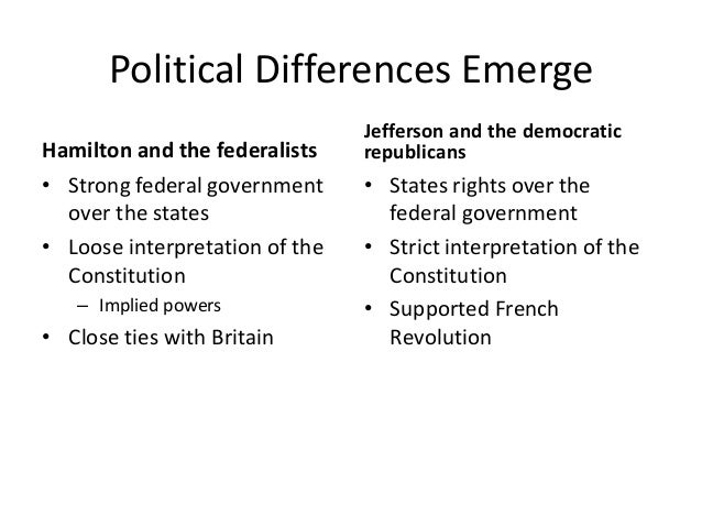 Jefferson Vs Hamilton Federalists Vs Republicans