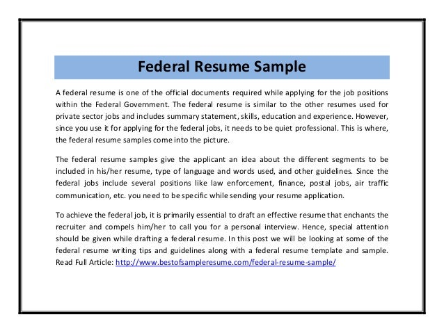 Federal ...  Sample Federal Resume