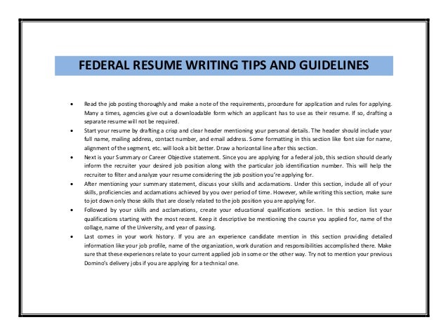 federal federal resume sample