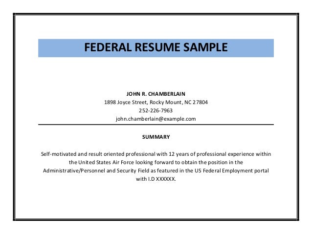 Federal resume sample pdf – Federal Resume Example