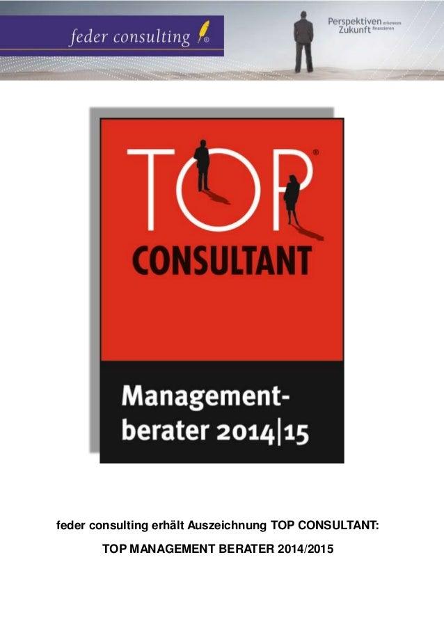 feder consulting erhält Auszeichnung TOP CONSULTANT:  TOP MANAGEMENT BERATER 2014/2015