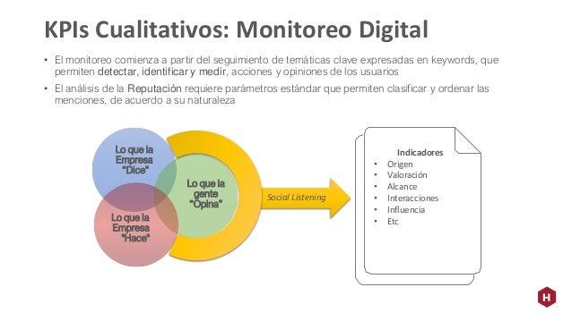 • El monitoreo comienza a partir del seguimiento de temáticas clave expresadas en keywords, que permiten detectar, identif...