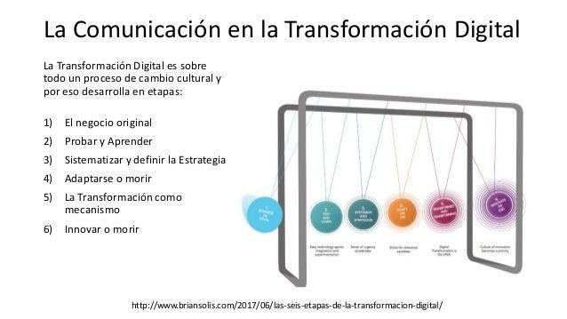 La Transformación Digital es sobre todo un proceso de cambio cultural y por eso desarrolla en etapas: 1) El negocio origin...