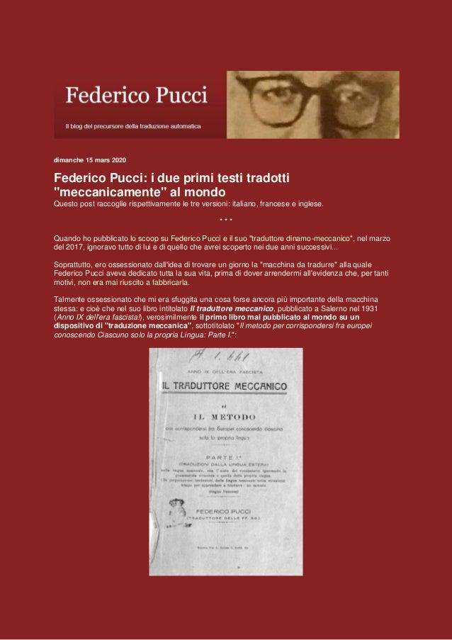 """dimanche 15 mars 2020 Federico Pucci: i due primi testi tradotti """"meccanicamente"""" al mondo Questo post raccoglie rispettiv..."""