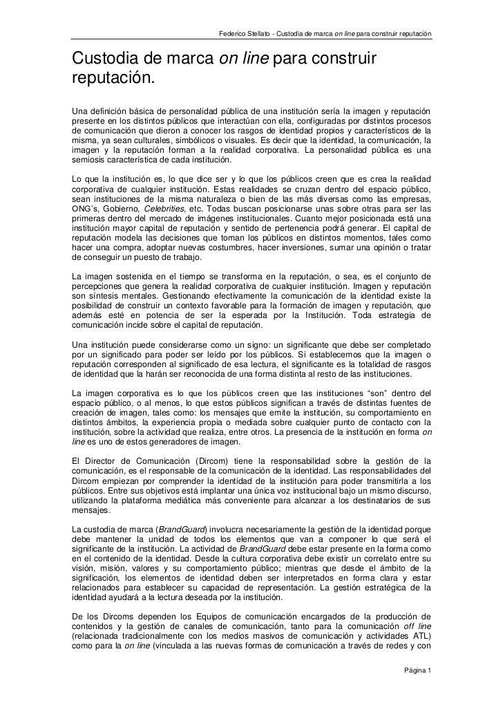 Federico Stellato - Custodia de marca on line para construir reputaciónCustodia de marca on line para construirreputación....
