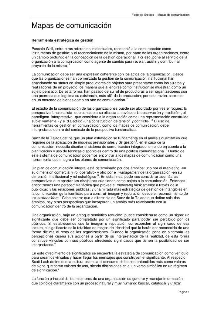 Federico Stellato – Mapas de comunicaciónMapas de comunicaciónHerramienta estratégica de gestiónPascale Weil, entre otros ...