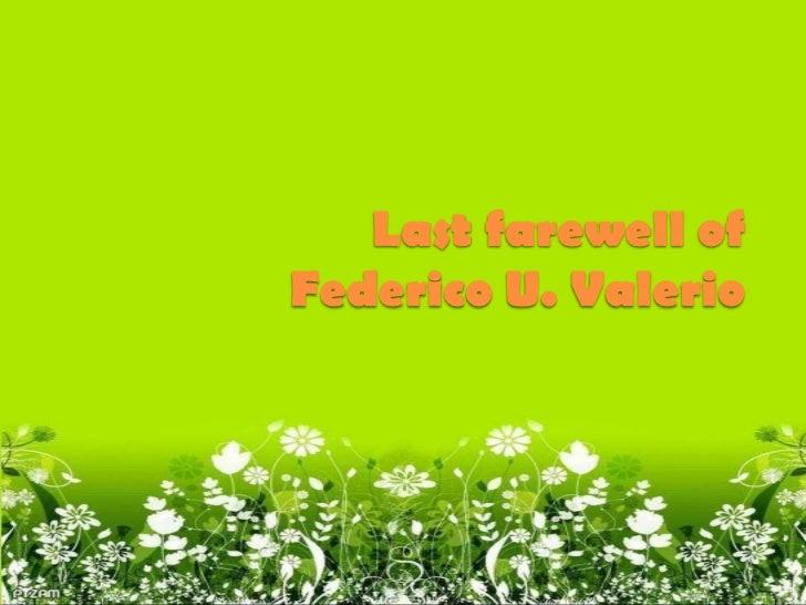 Last farewell ofFederico U. Valerio