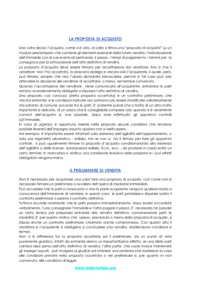 ... Di Acquisto   Il Contratto Preliminare O Compromesso; 2.