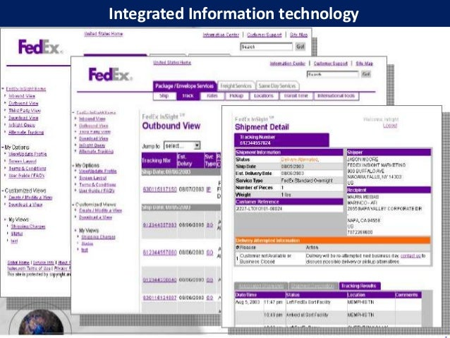 information systems used at fedex Fedex corporation (mis) 1 fedex corporation management information system prepared by: aabhas rastogi 11dcp053.
