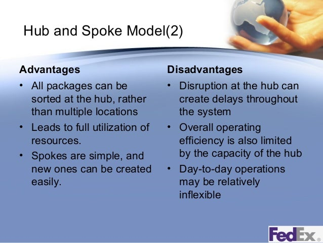 advantages and disadvantages of fedex and Why use a hub and spoke system by tony vieira april 16, 2009 the fedex express business model is constructed as an.
