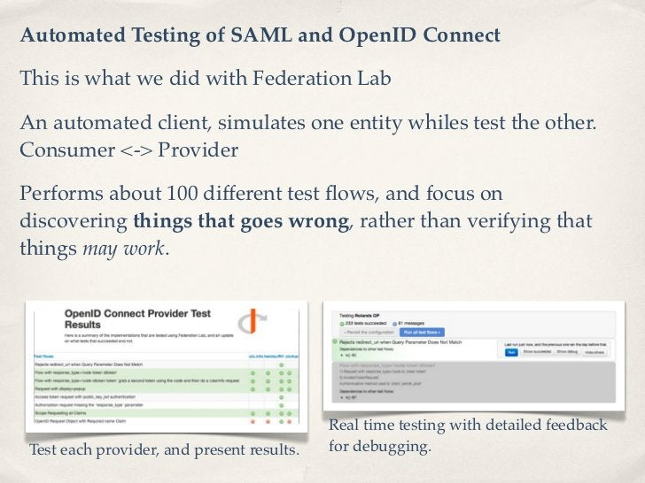 Automated Testing of SAML and OpenID ConnectThis is what we did with Federation LabAn automated client, simulates one enti...