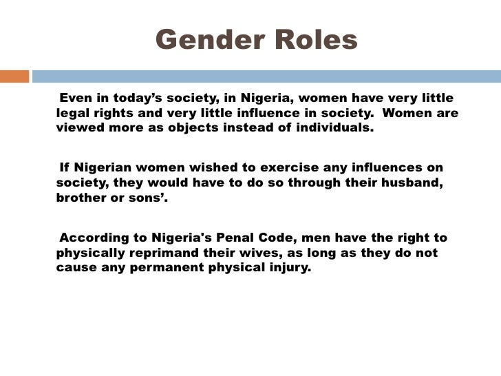 examples of gender roles in society