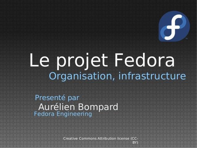 Le projet Fedora    Organisation, infrastructurePresenté par Aurélien BompardFedora Engineering         Creative Commons A...