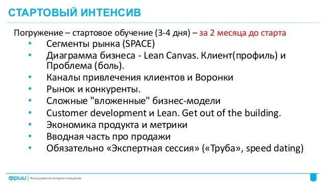 10 Погружение – стартовое обучение (3-4 дня) – за 2 месяца до старта • Cегменты рынка (SPACE) • Диаграмма бизнеса - Lean C...