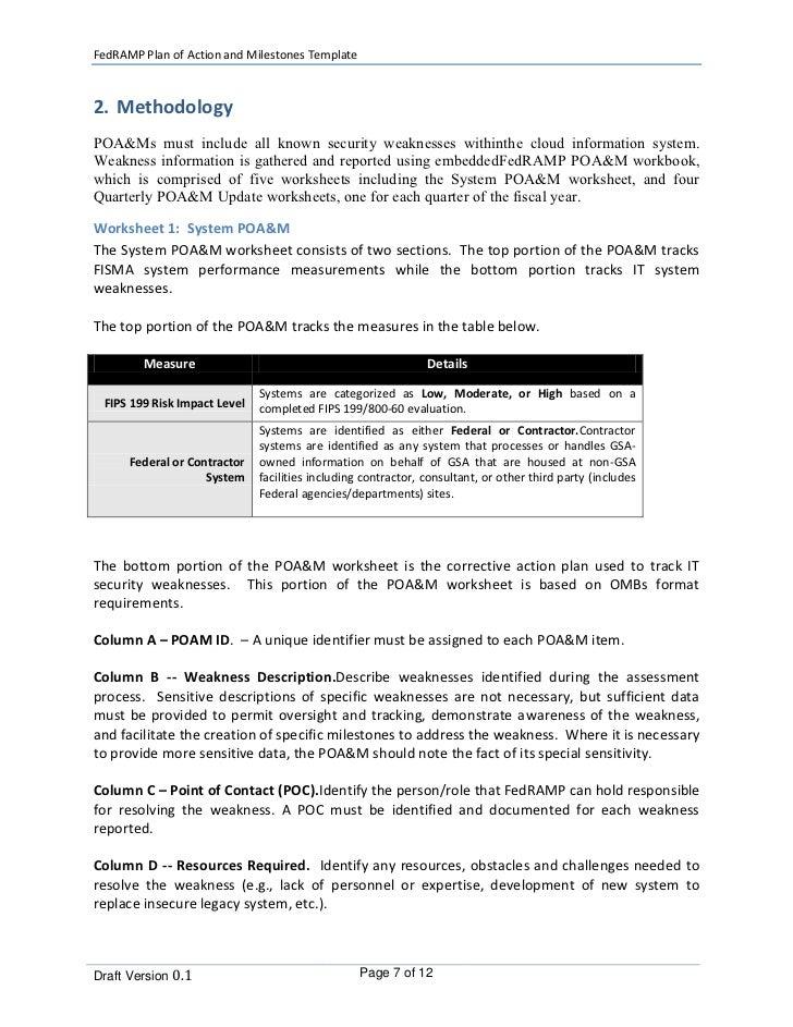 plan of action and milestones poa m