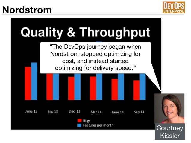 """Nordstrom Courtney  Kissler """"The DevOps journey began when Nordstrom stopped optimizing for cost, and instead started opti..."""