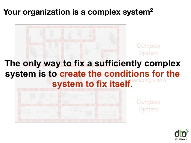 Your organization is a complex system2 Complex System Complex System interacting with a The only way to fix a sufficiently...