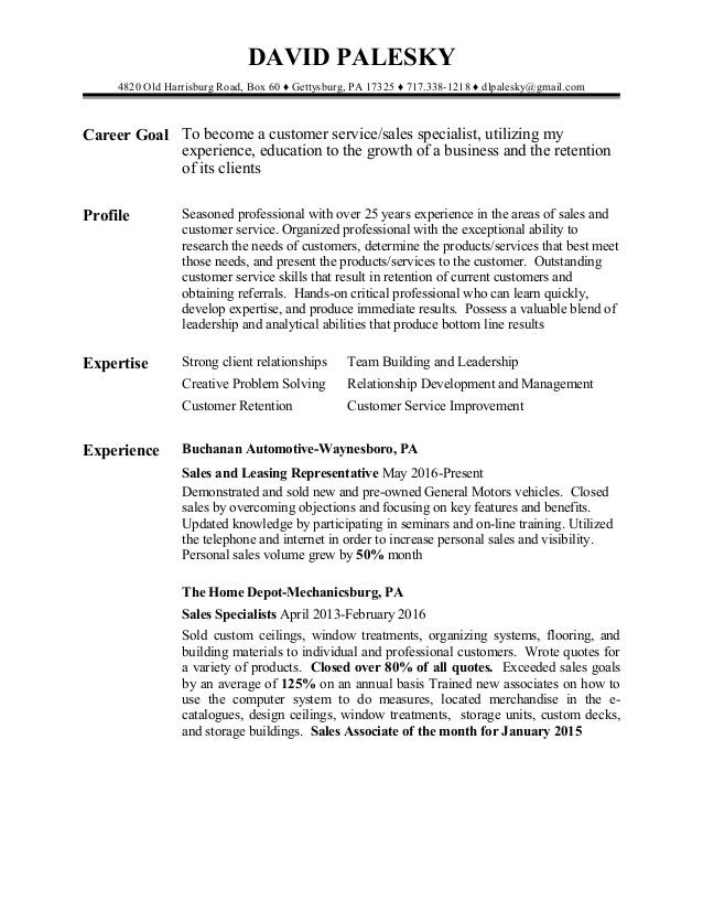 sales and customer service resume