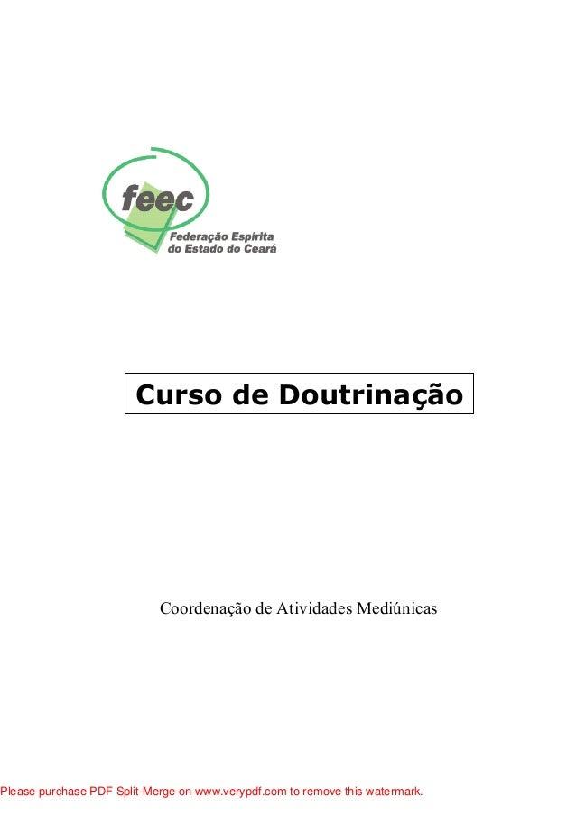 Curso de Doutrinação Coordenação de Atividades Mediúnicas Please purchase PDF Split-Merge on www.verypdf.com to remove thi...