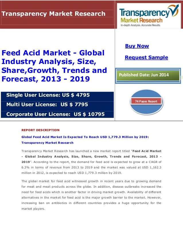 REPORT DESCRIPTION Global Feed Acid Market Is Expected To Reach USD 1,779.3 Million by 2019: Transparency Market Research ...