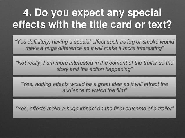 """4. Do you expect any special effects with the title card or text? """"Yes definitely, having a special effect such as fog or ..."""
