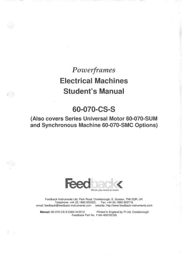 feedback powerframes electrical machines student s manual rh slideshare net