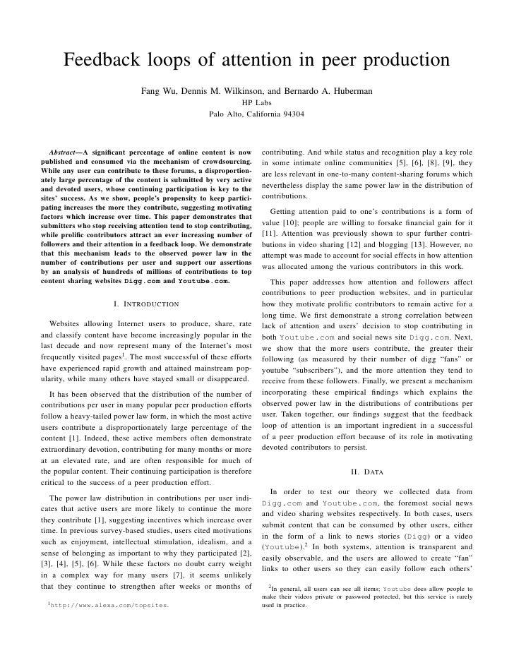 Feedback loops of attention in peer production                                Fang Wu, Dennis M. Wilkinson, and Bernardo A...