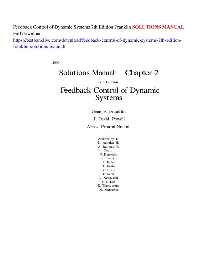 feedback control of dynamic systems 7th edition franklin solutions ma rh slideshare net Physics Solutions Manual Engineering Solutions Manual