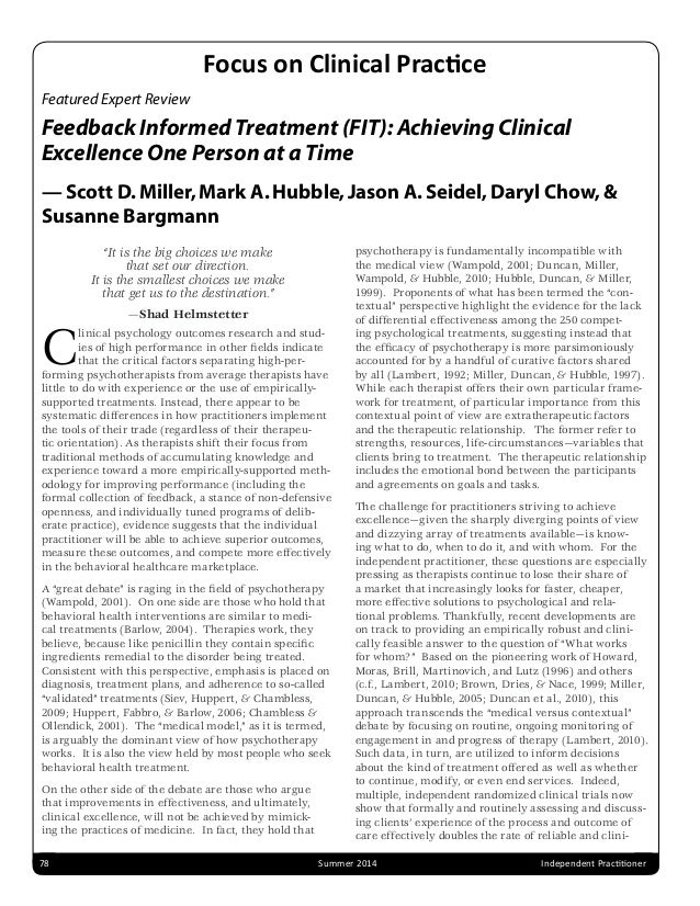 Featured Expert Review Feedback Informed Treatment (FIT): Achieving Clinical Excellence One Person at a Time — Scott D.Mil...