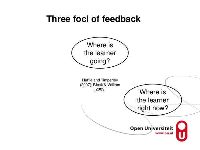 Three foci of feedback Where is the learner going? Where is the learner right now? Hattie and Timperley (2007); Black & Wi...
