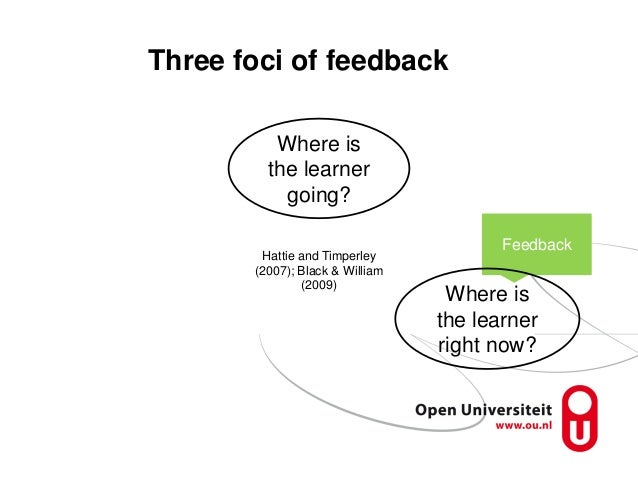 Three foci of feedback Feedback Where is the learner going? Where is the learner right now? Hattie and Timperley (2007); B...