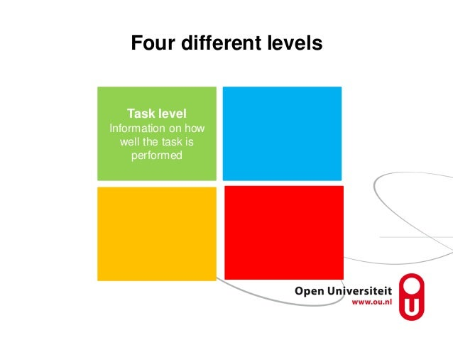 Four different levels Task level Information on how well the task is performed