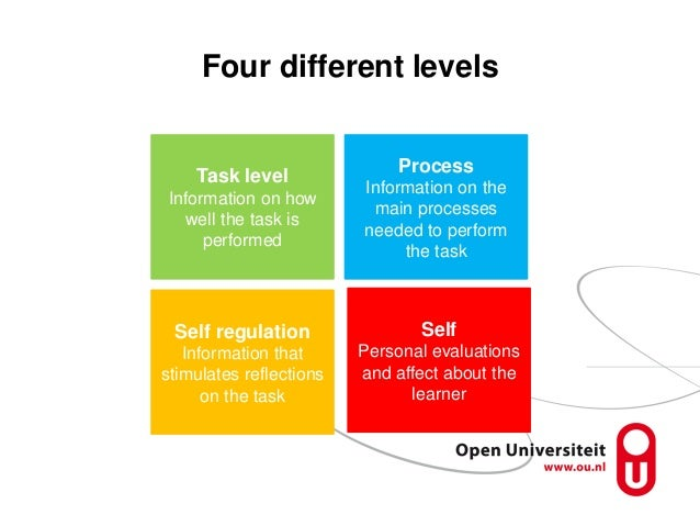 Four different levels Task level Information on how well the task is performed Process Information on the main processes n...