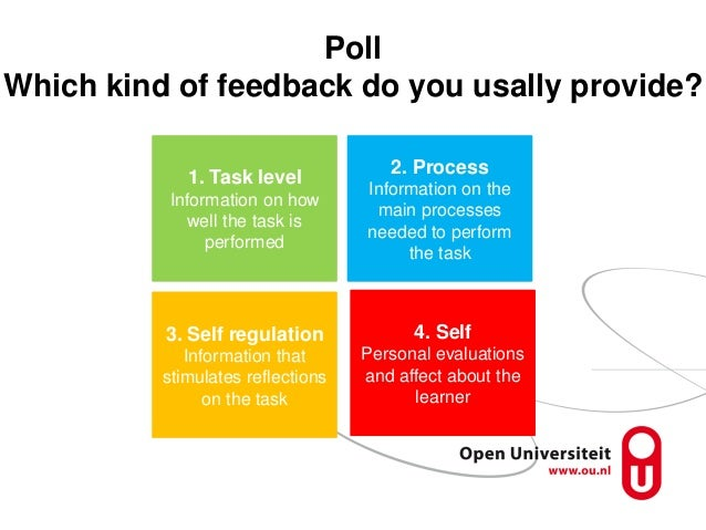 Poll Which kind of feedback do you usally provide? 1. Task level Information on how well the task is performed 2. Process ...