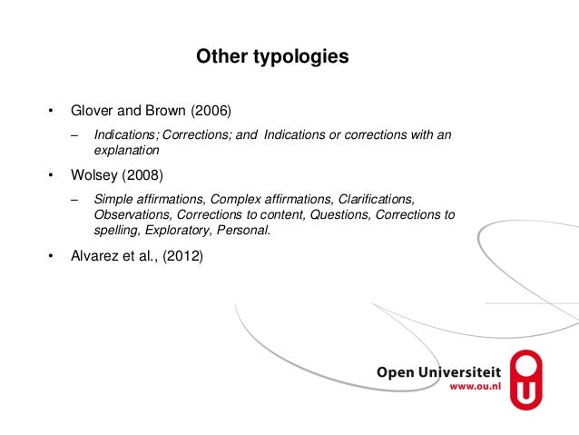 Other typologies • Glover and Brown (2006) – Indications; Corrections; and Indications or corrections with an explanation ...