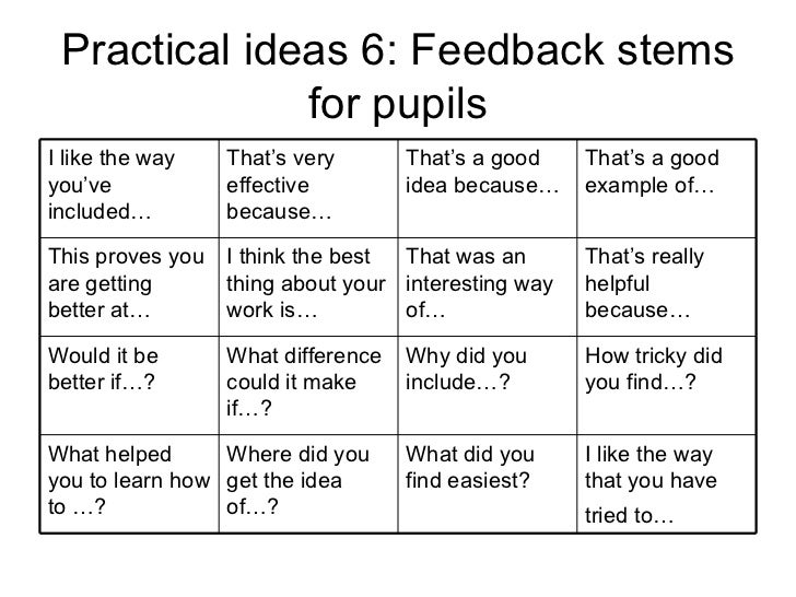 Practical ideas 6: Feedback stems for pupils I like the way you've included… That's very effective because… That's a good ...