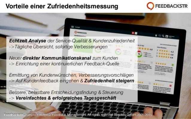 Feedbackstr – Simple Enterprise Feedback Management. All rights reserved Spectos GmbH 2001-2015. Echtzeit Analyse der Serv...