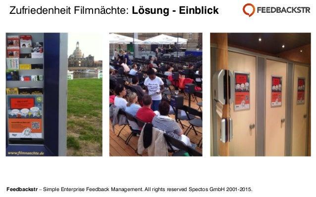 Feedbackstr – Simple Enterprise Feedback Management. All rights reserved Spectos GmbH 2001-2015. Zufriedenheit Filmnächte:...