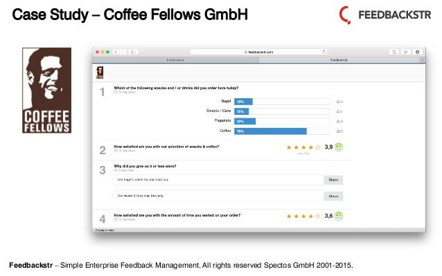Feedbackstr – Simple Enterprise Feedback Management. All rights reserved Spectos GmbH 2001-2015. Case Study – Coffee Fello...