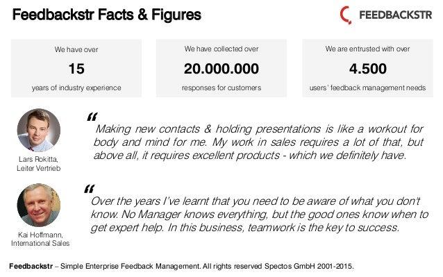 Feedbackstr – Simple Enterprise Feedback Management. All rights reserved Spectos GmbH 2001-2015. Kai Hoffmann, Internation...