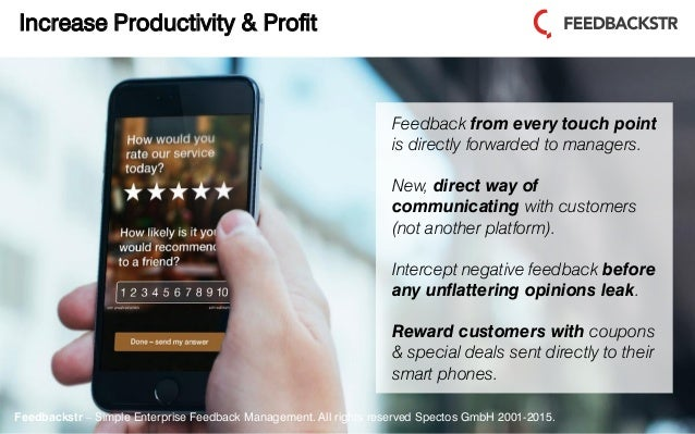 Feedbackstr – Simple Enterprise Feedback Management. All rights reserved Spectos GmbH 2001-2015. Increase Productivity & P...