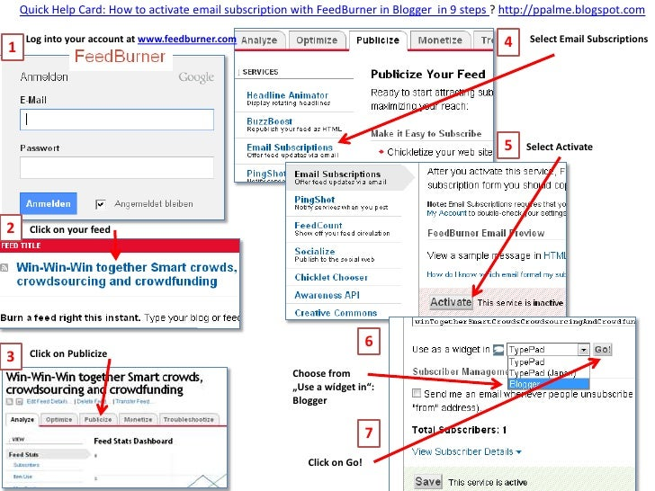 Quick Help Card: How to activate email subscription with FeedBurner in Blogger in 9 steps ? http://ppalme.blogspot.com    ...